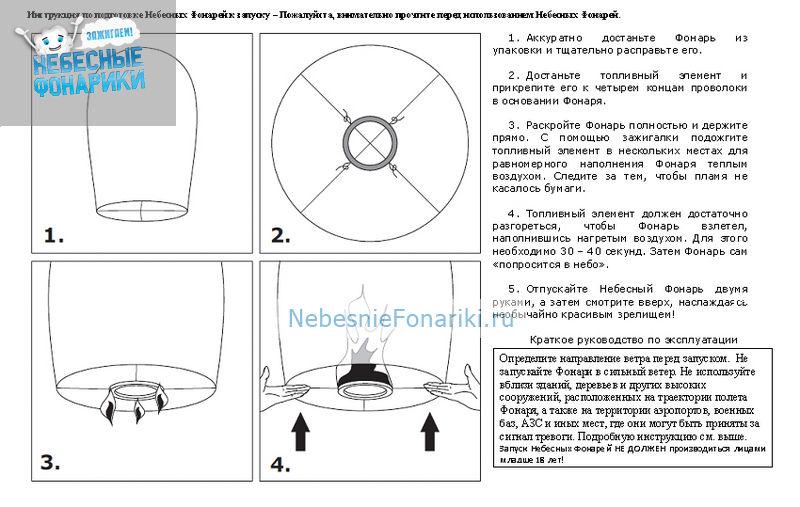 Инструкция по запуску небесные фонарики